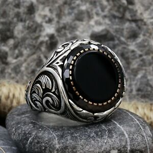 Mystic Black Onyx Stone Silver Ring Engagement Men Vintage Statement Jewelry 925