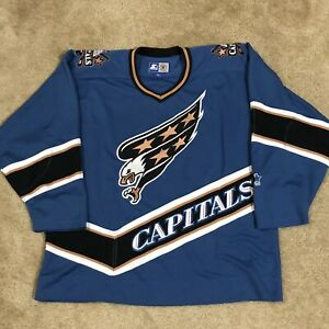Starter Washington Capitals NHL Hockey Jersey Screaming Eagle Vintage Blue L
