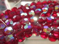 U703--50pcs Vintage Swarovski Machine Cut Faceted Siam AB Glass Beads 9mm