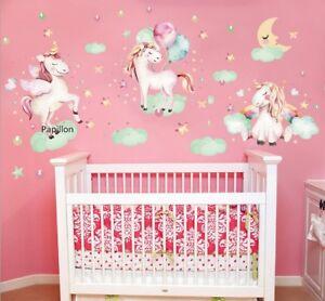 Rainbow Unicorn Cloud Nursery baby Girl Boys Removable wall sticker Art Decal
