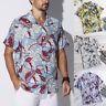 Mens Floral Print Shirts Tops Casual Short Sleeve Hawaiian Beach Holiday T Shirt