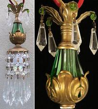 SWAG plugin Vintage crystal glass Green Brass hanging mini lamp chandelier prism