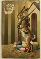 Anthropomorphic~Humanized Rabbit w. Rifle~Guarding Eggs -Easter~Postcard-m815