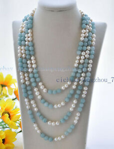 Natural 7-8mm White Freshwater Pearl & 8mm Blue Aquamarine Necklace 36-100'' AAA