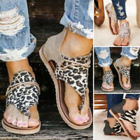 Women Summer Leopard Thong Sandals Breathable Open-Toe Gladiator Flats Shoes