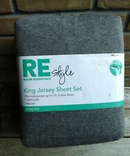 King Jersey Knit Sheet Set Gray RE Room Essentials Grey T-shirt Soft Great gift
