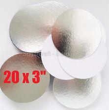 "20 x 3""  ROUND THIN CUT EDGE SILVER cake cupcake boards cards sugarcraft CULPITT"