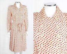 YVES SAINT LAURENT RIVE GAUCHE c.1980s IVORY RED POLKA DOT SILK SHIRT DRESS 36