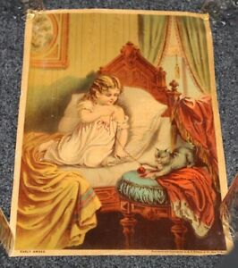 RARE Antique c1890 Chromolithograph Print EARLY AWAKE Little Girl & Kitten