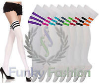 LADIES FOOTBALL STRIPED OVER THE KNEE HIGH THIGH REFEREE STRIPE LONG SOCKS