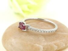 Oval Shaped Ruby Half Eternity Diamond 14k White Solitaire Engagement Ring