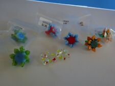 8 New LAMPWORK Beads - FLOWERS - Have a Loop at End -Ret $11.10 Closed Bead Shop