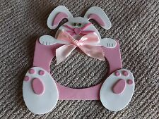 Lot of 3 Handmade Pink Magnetic Foam Easter Bunny Picture Frame Free Shipping