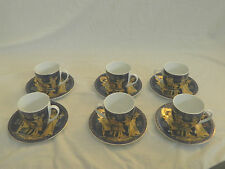 12 Piece Egyptian Pharaoh Porcelain Mug Coffee Tea Set King Tut Gold Blue  3""