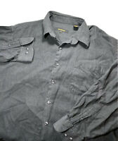 Bachrach Mens Long Sleeve Button Front Dress Shirt Charcoal Gray Size Large