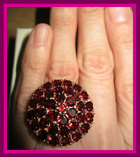 Mozambique Garnet  TCW 12 cts! Ring 14K RG Overlay Sterling Silver 925 sz 10