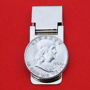 US 1948 ~ 1963 Franklin Half Dollar 90% Silver Coin Hinged Money Clip NEW