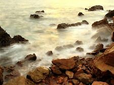 PHOTO SEASCAPE ROCKY SHORE WAVES MISTY LONG EXPOSURE SOFT WATER POSTER BMP10176