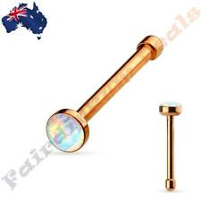 316 L Surgical Steel Rose Gold Nose Bone Stud Ring with White Opal Set Flat Top
