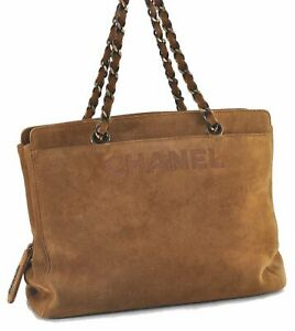 Authentic CHANEL Sued Chain Hand Bag Brown D3303