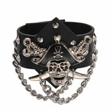 Metal Pirate Skull Punk Chain Leather Bangle Cuff Bracelet Wristband Men C3A7