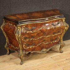 Comò veneziano legno radica dorato stile antico mobile 3 cassetti XX secolo 900