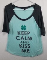 Living Doll Womens Size Medium T-Shirt Green and Blue 1/2 Sleeve Rayon Stretch