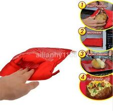 1PCS Microwave Baked Potato Cooking Bag Reusable Washable Corn Baking Red US