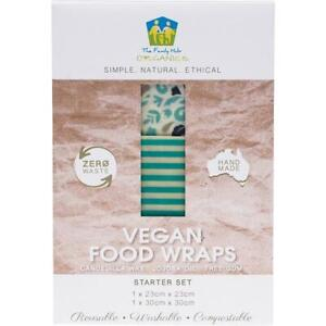 The Family Hub Organics Vegan Food Wraps - Starter Set (1 med, 1 lge)