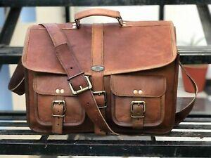 """Men's Vintage Leather Messenger Bag Shoulder Laptop Briefcase GVB 15"""" 2 Pocket"""