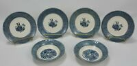 Set of 6 Vintage Royal China Currier & Ives Blue & White Bowls Steamboat Saucers