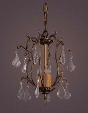 3 Light French Brass And Crystal Mini Chandelier