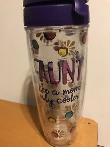 Tervis Flower 24 Oz Tumbler Lid Insulated Purple, Aunt, Like A Mom Only Cooler