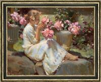 "Hand painted Original Oil Painting art Portrait Flower girl on canvas 30""x40"""