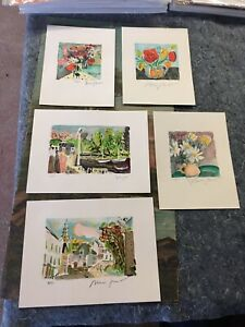 (5)Vintage Alexandre Minguet Original Pencil Signed Numbered Lithographs Lot