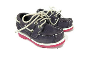 Timberland Baby Girls Shoe Size 4.5 Purple Suede Leather Loafer Toddler New