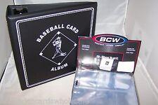 """1 BCW Black Baseball Card Storage 3"""" D-Ring  Album Binder & 100 Pages"""