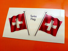 SWISS SWITZERLAND Flag & Pole Motorcycle Car Bumper Stickers Decals 2 off 60mm