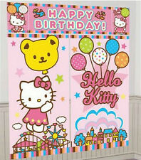 HELLO KITTY Scene Setter HAPPY BIRTHDAY party wall decoration kit 6' balloons
