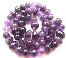 """7-11mm Natural Dark Purple Amethyst Ovoid Gemstone Beads 15"""""""