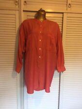 Vintage Australian Designer Lizzie Collins Shirt - Tangerine/Pink/Red Hues Sz 18