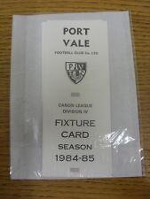 1984/1985 lista de iluminación: Port Vale-oficial de cuatro tarjeta de estilo de página. gracias por V