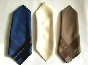 THREE Lord Ashton Pocket Square Handkerchiefs Blue -Brown -Cream Never Used