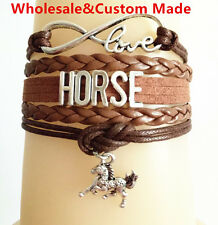 Infinity Love HORSE With Cute Money Horse Suede Leather Braided Bracelet