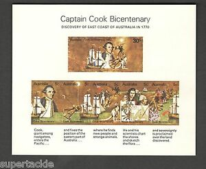 1970 Australia SC#182a CAPTAIN COOK BICENTENARY 5c  MNH souvenir sheet