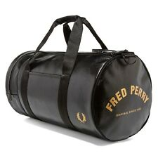 FRED PERRY CLASSIC BARREL BAG BLACK/GOLD L3330 974 NEW WITH TAGS MEDIUM