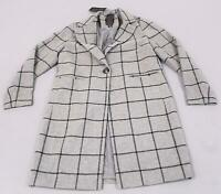 New Look Women's Grid Check Longline Single Button Coat AB3 Grey UK:8 US:4 NWT