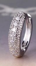 Mens 18K White Gold Diamond Hoop Single Earring  89