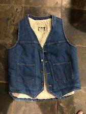 Vintage Wrangler Blue Jean Denim Western Sherpa Fleece Lined Vest Medium