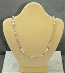 Italian Silver Long Length Belcher Chain with Faux Pearl Beads - Thames Hospice